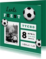 Lentefeest uitnodiging jongen stoer voetbal foto