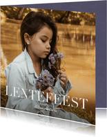 Communiekaarten - Lentefeest uitnodiging klassieke letter en grote foto