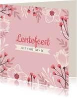 Lentefeest uitnodiging stijlvol en hip met bloemen