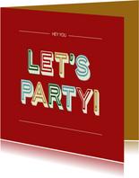Let's party - retro - verjaardagskaart