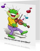 Leuk opkikkertje met viool. Om de zieke op te vrolijken