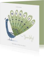 Leuke bedankkaart een dikke merci met blauwe pauw