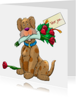 Leuke dierenkaart met hond en rozen voor jou