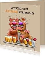 Leuke en grappige verjaardagskaart met beertjes en bier