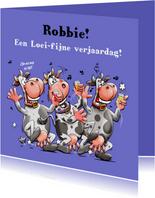 Grappige verjaardagskaart met koeien en geloei voor broer