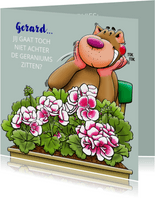 Leuke felicitatie pensioenkaart, achter de Geraniums zitten
