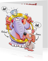Leuke felicitatiekaart met dieren en grote ring