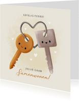 Leuke felicitatiekaart samenwonen met sleutels en hartjes