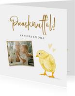 Leuke fotokaart met geïllustreerd kuiken en hartjes