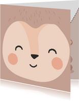Leuke kaart met getekend gezicht van een aap 'apetrots'