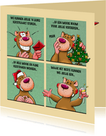 Leuke kerstkaart met beer in 4 groene vlakken