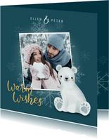 Leuke kerstkaart met foto, ijsbeertje en sneeuwvlokken