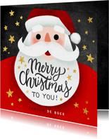 Leuke kerstkaart met kerstman, Merry Christmas en sterren