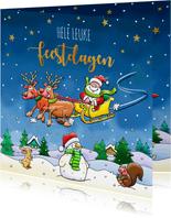 Leuke kerstkaart met vliegende arrenslee en kerstman