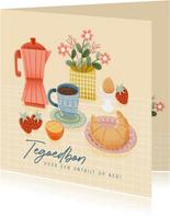 Leuke moederdag kaart tegoedbon voor ontbijt op bed