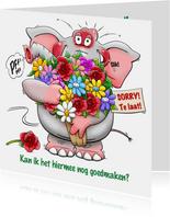 Leuke olifant met grote bos bloemen om het goed te maken