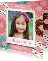 Leuke uitnodiging kinderfeestje met donuts en foto