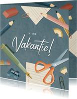 Leuke vakantiekaart fijn vakantie schoolspullen & typografie