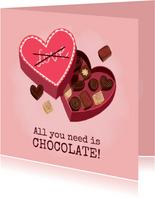 Leuke valentijnskaart illustratie hartvormige doos chocolade