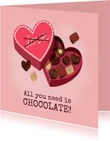 Leuke valentijnskaart met hartvormige doos chocolade