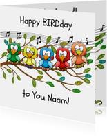 Leuke verjaardag Happy BIRDday vrolijke vogels op tak