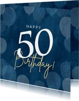 Leuke verjaardagskaart 50 jaar met ballonnen man