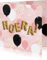 Leuke verjaardagskaart ballonnen, folieballonnen en 'Hoera!'
