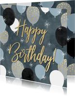 Leuke verjaardagskaart met ballonnen en Happy Birthday