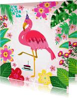 Leuke verjaardagskaart met flamingo, bloemen en planten