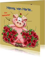 Leuke verjaardagskaart met grappig feestvarken en rozen