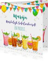 Leuke verjaardagskaart met heerlijke limonade en cupcakes