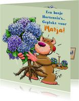 Leuke verjaardagskaart met Hortensia-struik en beertje