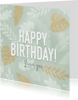 Leuke verjaardagskaart met junglepatroon wit en goud