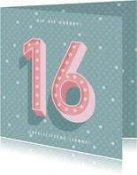 Leuke verjaardagskaart met lichtbak cijfers '16'