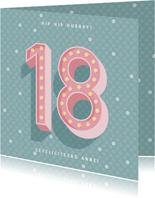 Leuke verjaardagskaart met lichtbak cijfers '18'