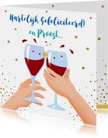 Leuke verjaardagskaart met wijnglazen, handen en taart