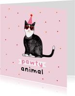 Leuke verjaardagskaart rozepawty animal met kat confetti