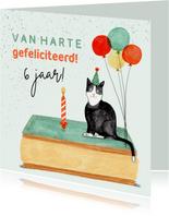 Leuke verjaardagskaart tompouce poes ballonnen