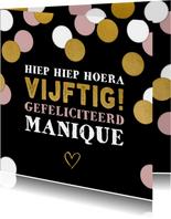 Leuke verjaardagskaart 'vijftig' met confetti