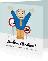 Leuke verjaardagskaart voor 50 jaar met Abraham opblaaspop