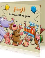 Leuke verjaardagskaart voor kind met dieren en limonade
