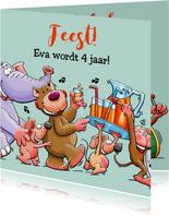 Leuke verjaardagskaart voor kleuter met dieren en limonade