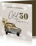 Leuke vintage verjaardagskaart met oldtimer en ballonnen