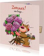 Leuke vriendschapskaart met hortensia, geplukt voor vriendin