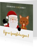 Leuke zakelijke kerstkaart dieren branch kerstman en hondje