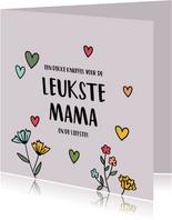 Leukste mama - hearts and flowers - moederdagkaart