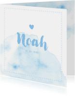 Lichtblauw geboortekaartje met waterverf