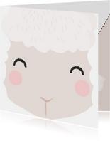 Lief beterschap kaartje met het gezicht van een schaapje.