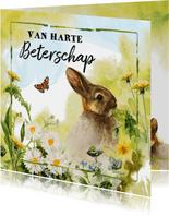 Lief beterschapskaartje met konijn