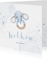 Lief felicitatiekaartje bijtring met blauw olifantje